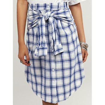 Stylish Button Front Plaid Curved Hem Women's Skirt