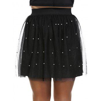 Fashionable Plus Size Pleated Beaded Women's Skirt