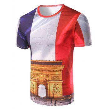 Short Sleeve Arch of Triumph Printed T Shirt For Men