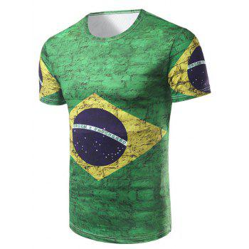 Men's Casual Short Sleeve Brazilian Flag Printed T-Shirt