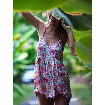 Tropical Print Fringed Design Cami Romper