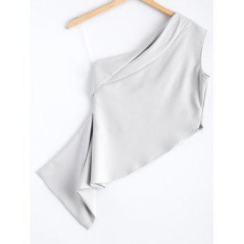 Stylish Women's Solid Color One-Shoulder Asymmetric Top - LIGHT GRAY M