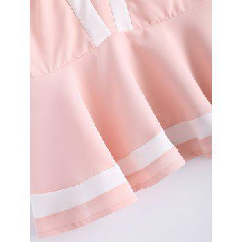 Sweet Women's Scoop Neck Mesh Flounce Stitching Color Sleeveless Top - LIGHT PINK M