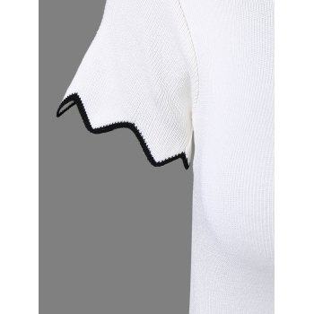 Stylish Women's Zigzag Neck Short Sleeves Top - WHITE ONE SIZE(FIT SIZE XS TO M)