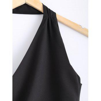Stylish Women's Solid Color Halter Neckr Backless Button Crop Top - BLACK M