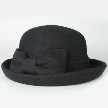 Chic Bowknot Lace-Up Embellished Women's Flanging Felt Fedora Hat
