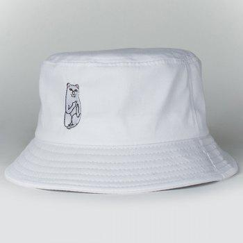 Chic Cartoon White Cat Embroidery Women's Flat Bucket Hat
