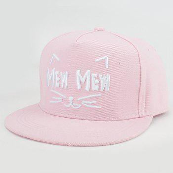 Buy Chic Letters Kitten Face Embroidery Fresh Summer Style Women's Baseball Cap PINK