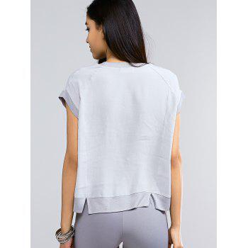 Brief Short Sleeve Pocket Front Slit Hem Women's Blouse - LIGHT GRAY LIGHT GRAY