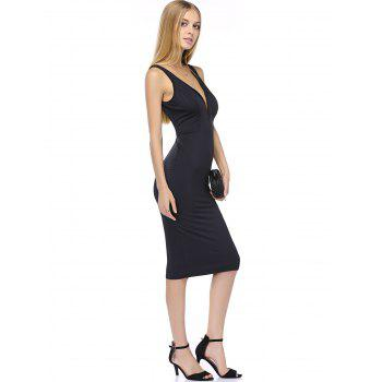 Plunging Neck High Waist Slimming Dress - BLACK BLACK