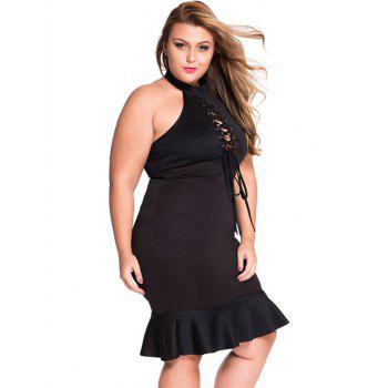 Plus Size Lace Up Mermaid Prom Dress - XL XL