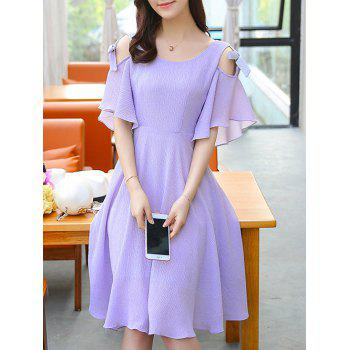 Stylish Women's Cold Shoulder Butterfly Sleeve Dress - PURPLE XL