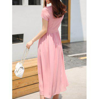 Stylish Women's V-Neck High Waisted Solid Color Dress - PINK PINK
