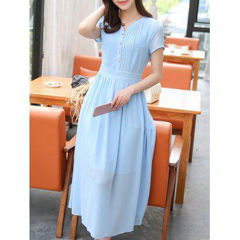 Stylish Women's V-Neck High Waisted Solid Color Dress - AZURE 2XL