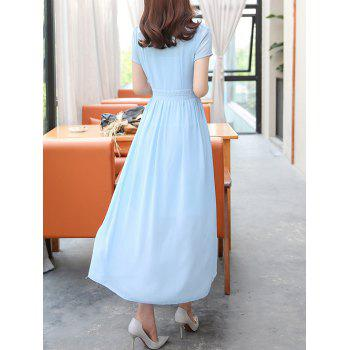 Stylish Women's V-Neck High Waisted Solid Color Dress - 2XL 2XL