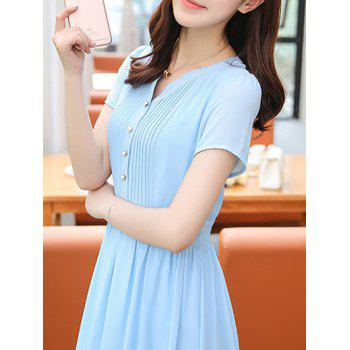 Stylish Women's V-Neck High Waisted Solid Color Dress - AZURE AZURE