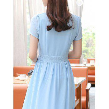 Stylish Women's V-Neck High Waisted Solid Color Dress - XL XL