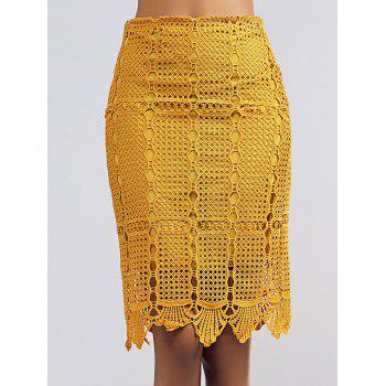 Stylish Women's Crochet Pencil Skirt - YELLOW M