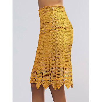 Stylish Women's Crochet Pencil Skirt - YELLOW YELLOW