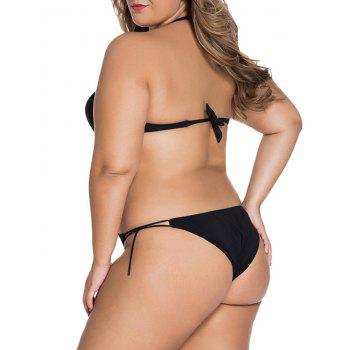 Plus Size Halter Backless String Underwire Monokini Swimsuit - BLACK L