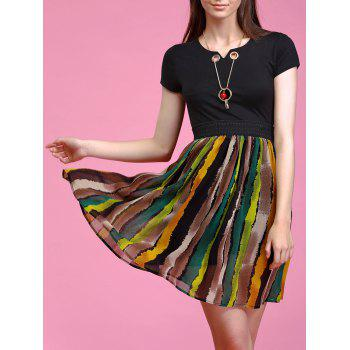 Trendy Necklace Decorated Short Sleeve Stripe Spliced Dress For Women