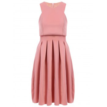 Stylish Women's Round Collar Sleeveless Pleated Dress