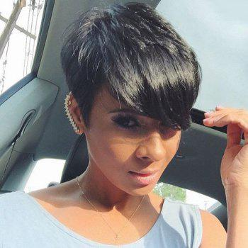 Trendy Women's Short Fluffy Oblique Bang Human Hair Wig