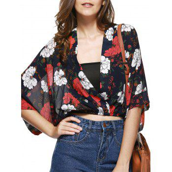 Stylish Plunging Neck Cropped Printed Blouse For Women - RED WITH BLACK ONE SIZE(FIT SIZE XS TO M)