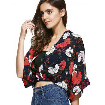 Stylish Plunging Neck Cropped Printed Blouse For Women - ONE SIZE(FIT SIZE XS TO M) ONE SIZE(FIT SIZE XS TO M)