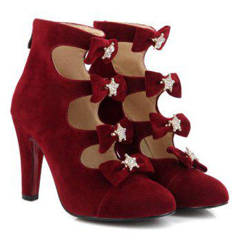 Party Bowknots and Cut Out Design Women's Pumps - WINE RED 38
