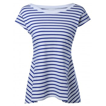 Trendy Striped Cap Sleeve High Low T-Shirt