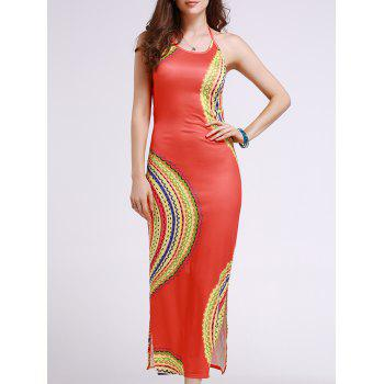 Stylish Halter Sleeveless Cut Out Printed Women's Dress
