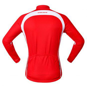 Chic Quality Long Sleeve Thermal Fleece Cycling Jacket For Unisex - RED/WHITE RED/WHITE
