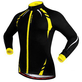 Hot Sale Long Sleeve Warmth Thermal Fleece Cycling Jacket For Unisex - YELLOW/BLACK S