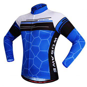 Fashionable Irregular Pattern Quick Dry Cycling Long Sleeve Jersey For Unisex - BLUE L