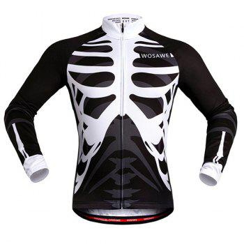 Fashion Skeleton Pattern Breathable Quick Dry Cycling Long Sleeve Jersey For Unisex