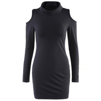 Alluring Cowl Neck Long Sleeve Slimming Hollow Out Women's Dress