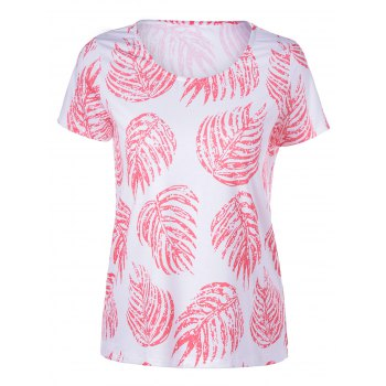 Elegant Women's Round Neck Short Sleeves Plant Printing T-shirt