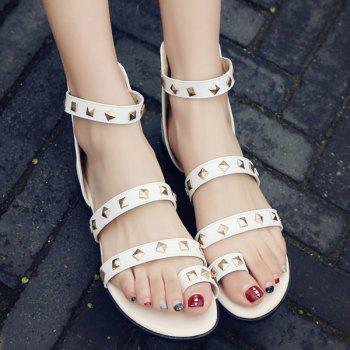 Trendy Rivets and Toe Ring Design Women's Sandals