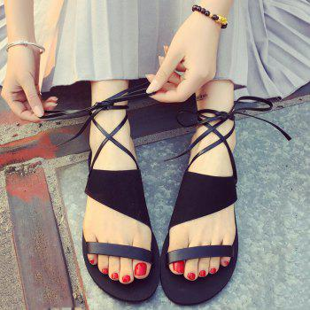 Retro Lace-Up and Suede Design Women's Sandals