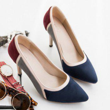 Trendy Color Splicing and Suede Design Women's Pumps - PURPLISH BLUE 39