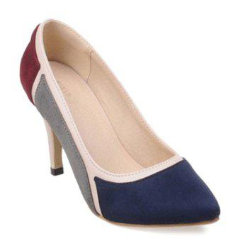 Trendy Color Splicing and Suede Design Women's Pumps