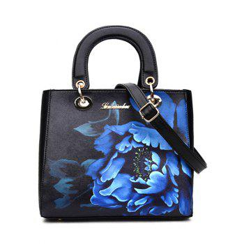 Graceful Flower Printed and PU Leather Design Women's Tote Bag