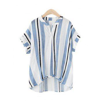 Pure and Plain Striped Asymmetrical Blouse - LIGHT BLUE M