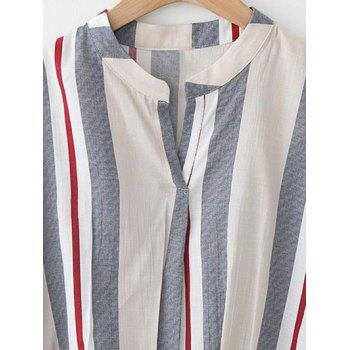 Pure and Plain Striped Asymmetrical Blouse - LIGHT BLUE LIGHT BLUE