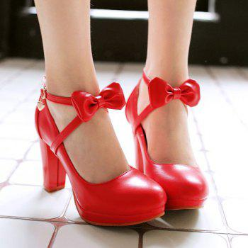 Ladylike Bow and Chunky Heel Design Women's Pumps
