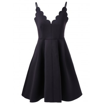 Scalloped A Line Flare Cocktail Slip Dress - BLACK L