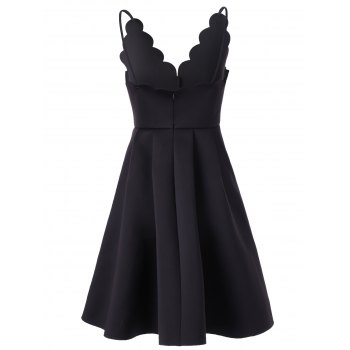 Scalloped A Line Flare Cocktail Slip Dress - S S