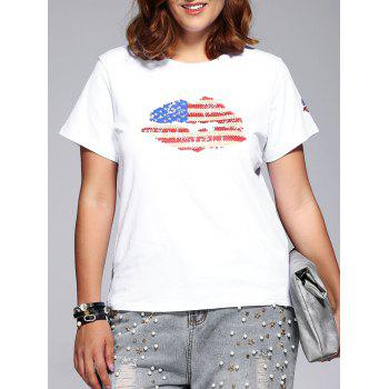 Casual Plus Size Rhinestoned Embellished Lip Pattern Women's T-Shirt