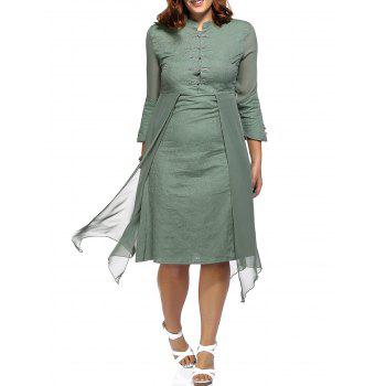 Vintage Plus Size Chinese Frog Button Asymmetrical Women's Dress